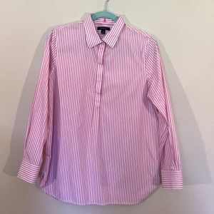 Lands' End Pink Striped Popover Tunic Top NWOT